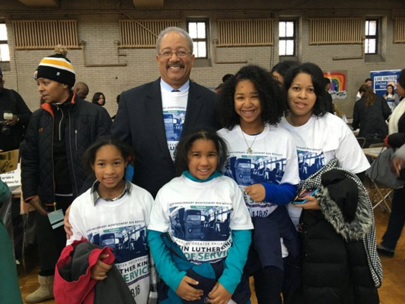 Congressman Chaka Fattah with students at Girard College on Martin Luther King Day earlier this year.