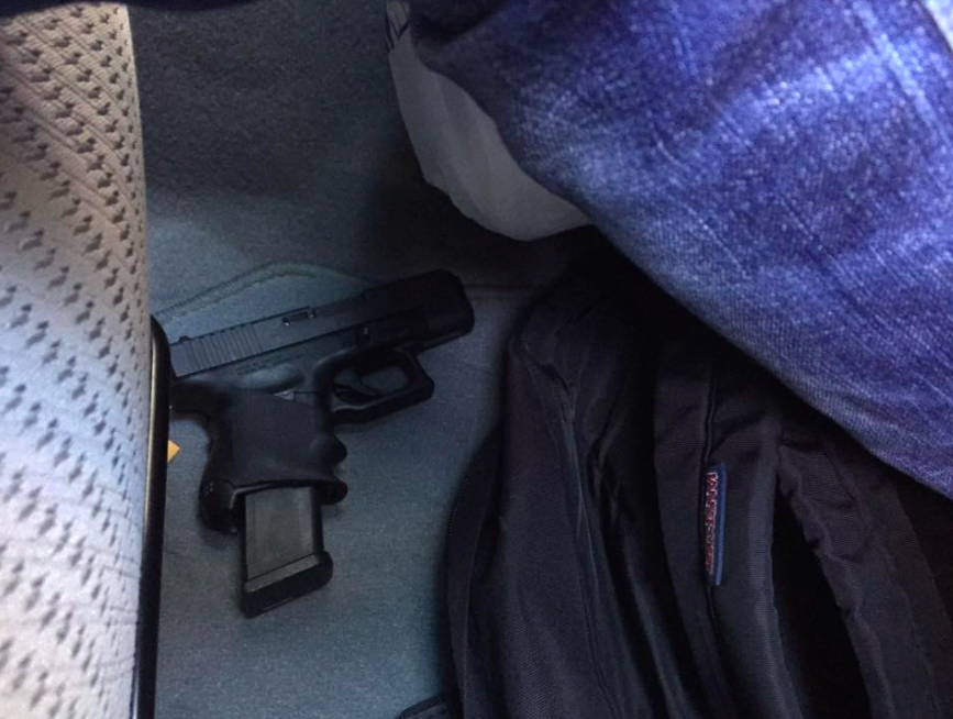 A Philadelphia UberX driver has been suspended for keeping this gun in his car while taxiing riders around the city.
