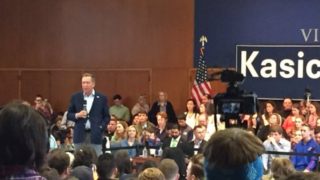 Former Ohio Gov. John Kasich speaks at Villanova University a day after he won the Ohio primary.