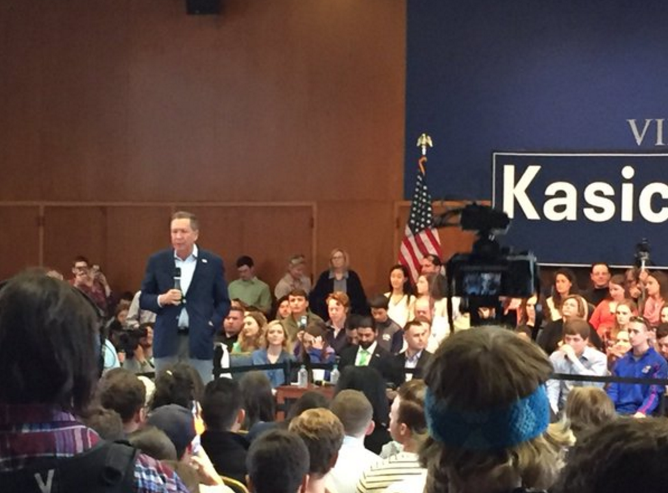 Former Ohio Gov. John Kasich speaks at Villanova University a day after he won the Ohio primary.