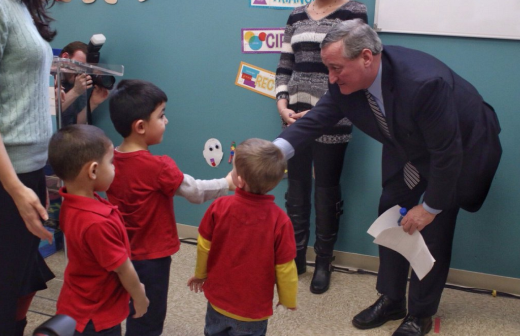 Mayor Kenney visiting a quality pre-K provider.