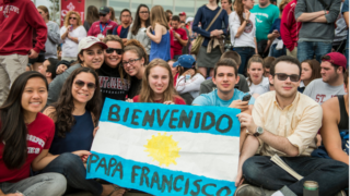 Dozens of Saint Joseph's students await the arrival of Pope Francis last fall.