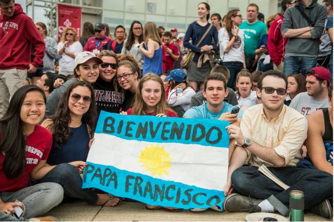 Dozens of Saint Joseph's students await the arrival of Pope Francis last fall.
