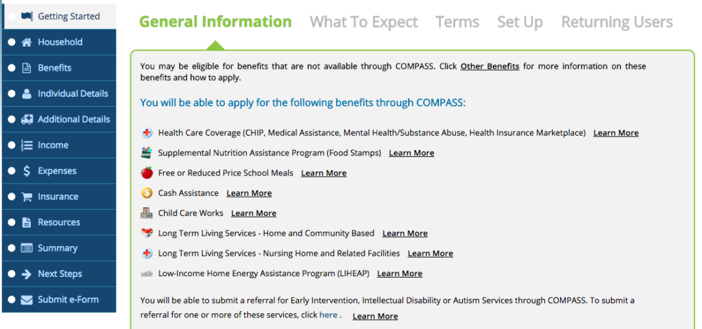 The home screen of the COMPASS system that people can use to sign up for benefits directly through the state.