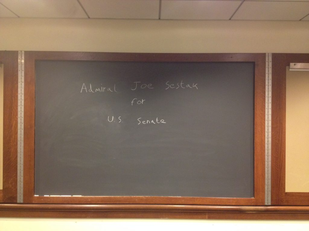 The background in the Penn classroom where Joe Sestak spoke about foreign policy last week.