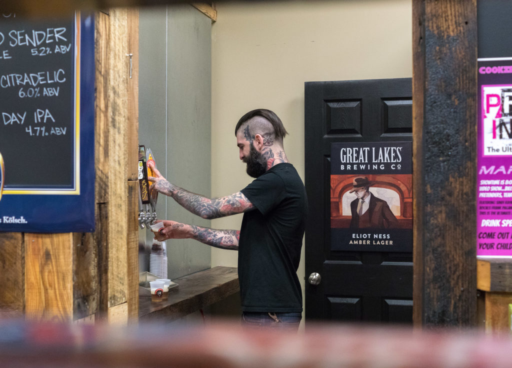Customers can taste a variety of beers on tap