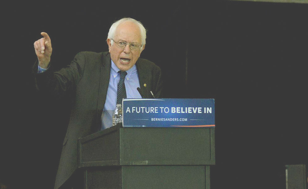Bernie Sanders speaks in Pittsburgh.