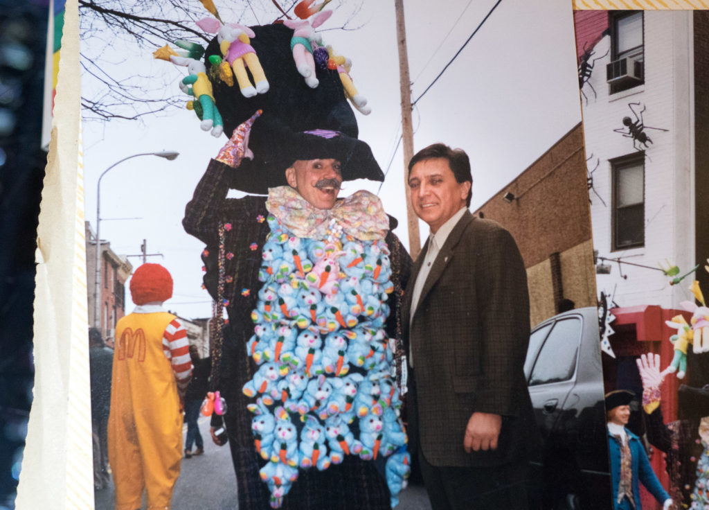 Henri David — wearing a vest of rabbits — with Councilman Frank Dicicco
