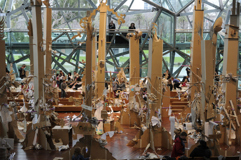 Paper Planet will construction and perform in an interactive forest of cardboard trees