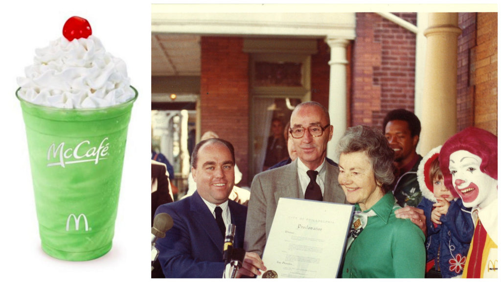 Left: Shamrock Shake Right: Jimmy Murray and Audrey Evans at the opening of the first Ronald McDonald House.