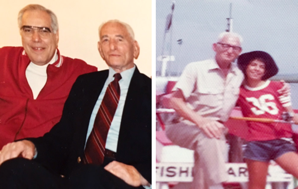 Left: Ken Frank and uncle Dave Kohn; Right: Kohn and grandniece Nancy Schwartz