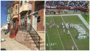 Left: Homes near 16th and Norris streets Right: Temple football