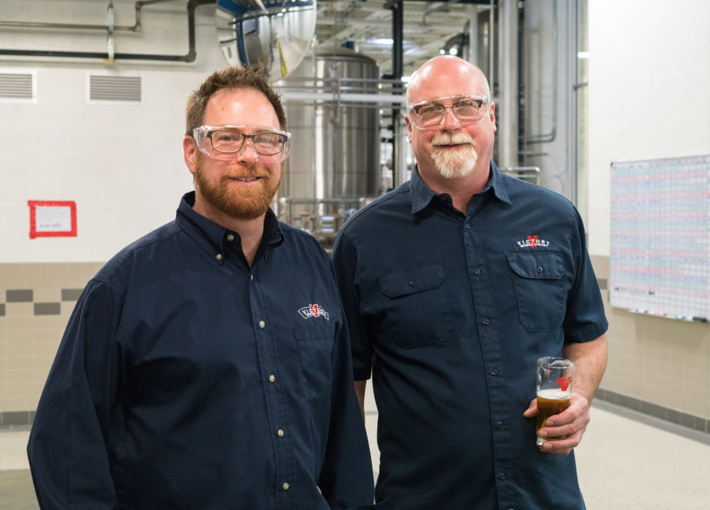 Victory co-founders Bill Covaleski and Ron Barchet on the floor of their Parkesburg Brewery