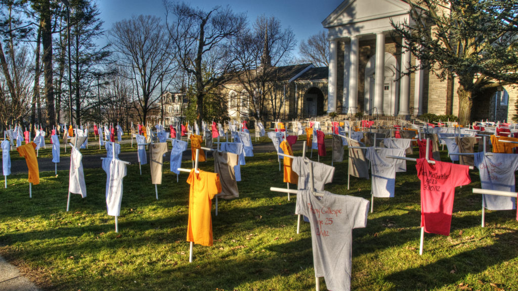 A gun violence memorial marking each fatality in the city in 2012.