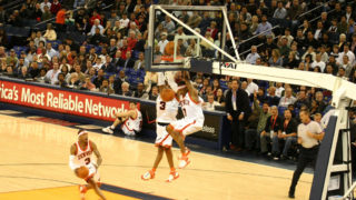 Time-lapse of Iverson dunking in a losing effort against the Golden State Warriors in 2007.