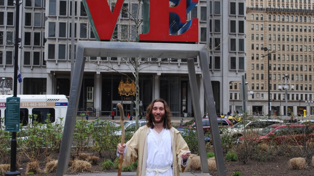 Philly Jesus, who's not a member of any particular congregation, calls the Love Statue his church.