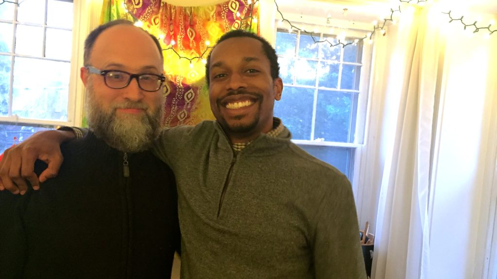 Brian Miller and Dwight Dunston pose for a photo in a music studio in Miller's Germantown home.