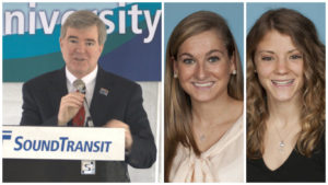 The NCAA, led by president Mark Emmert, is being sued by Penn track athletes Taylor Hennig (center) and Gillian Berger (right), whose lawsuit claim athletes deserve the same treatment as work-study students.
