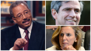 From left: US Congress candidate Chaka Fattah, US Senate candidate Joe Sestak, US Senate candidate Katie McGinty