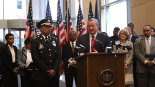 Mayor Jim Kenney and Police Commissioner Richard Ross stand at a press conference in 2016.