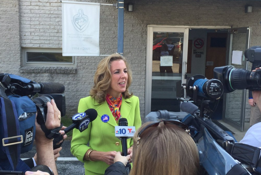Katie McGinty talks with press on Election Day.