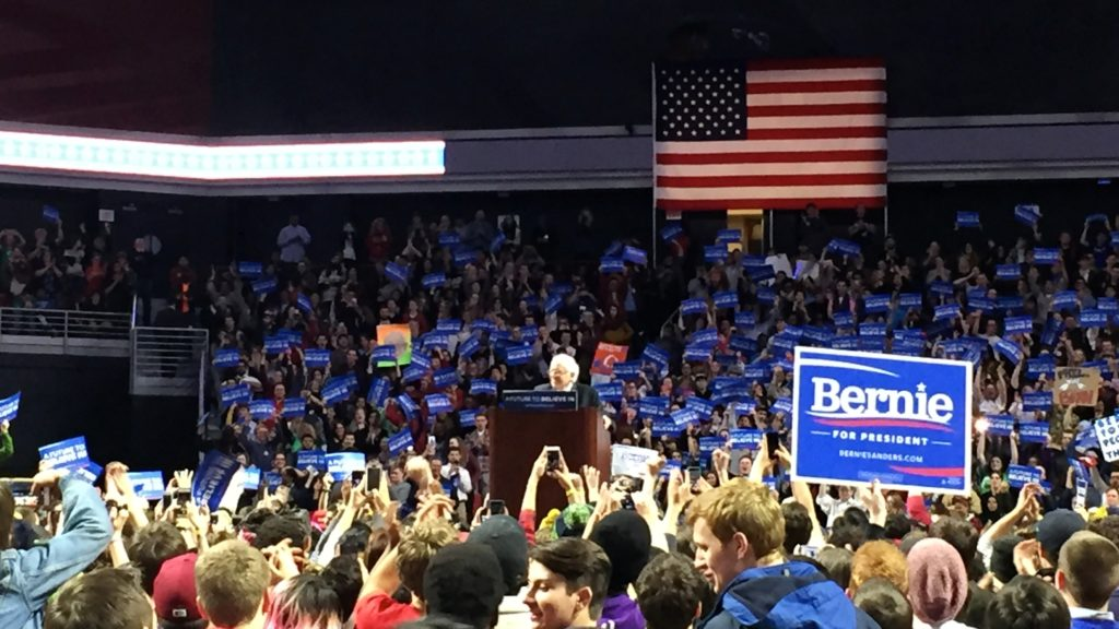 Bernie Sanders addresses a crowd of thousands in Philadelphia.