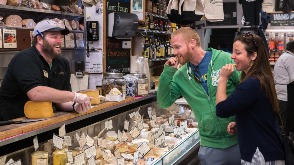 Tasting cheese at Di Bruno Bros. in the Italian Market