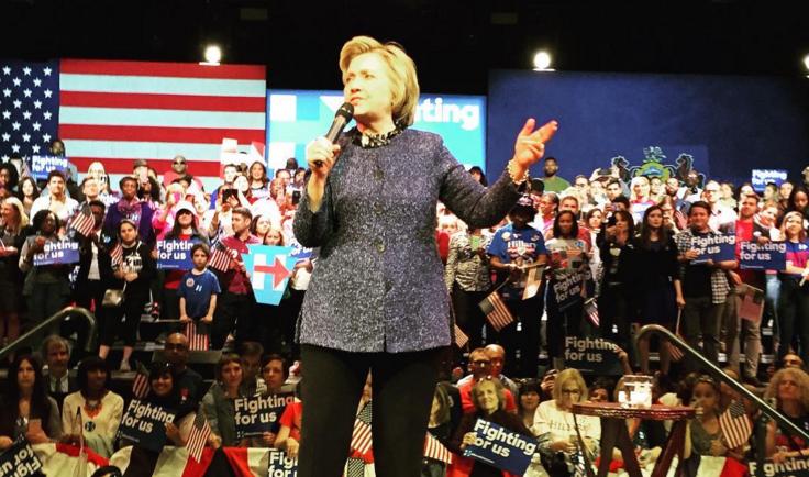 Hillary Clinton speaks at The Fillmore in Philadelphia.