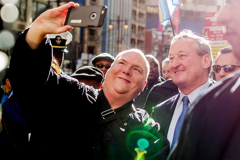 Dillon snaps a selfie with Mayor Jim Kenney at his inauguration
