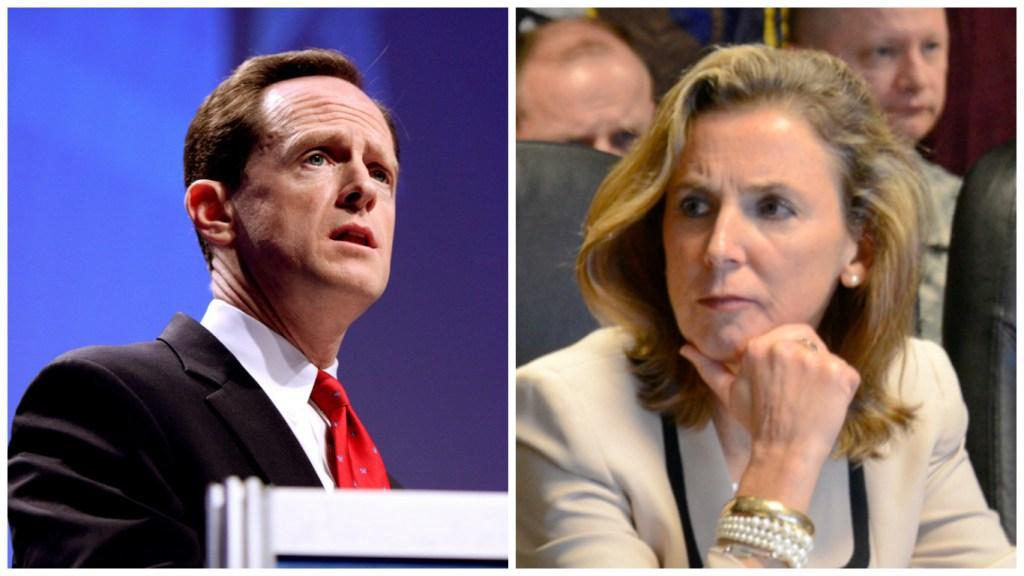 Sen. Pat Toomey and Democratic nominee for Senate Katie McGinty.