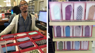Left: Library assistant Omelio Alexander shows off his innovative display solution; Right: Ties on the rack, ready for borrowing
