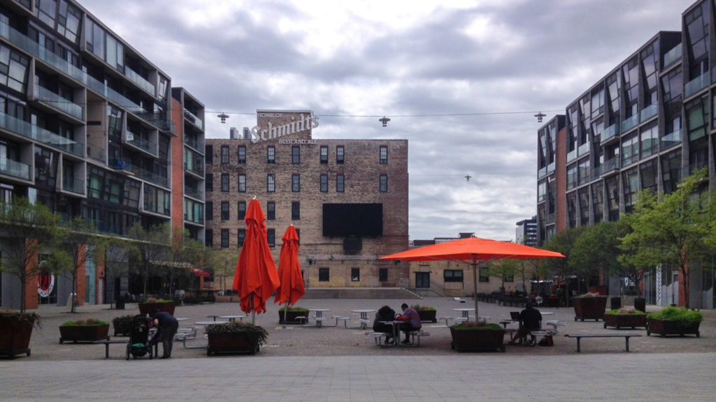 The Piazza's one-acre courtyard on a Thursday afternoon in April.