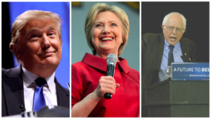 Donald Trump, Hillary Clinton and Bernie Sanders.