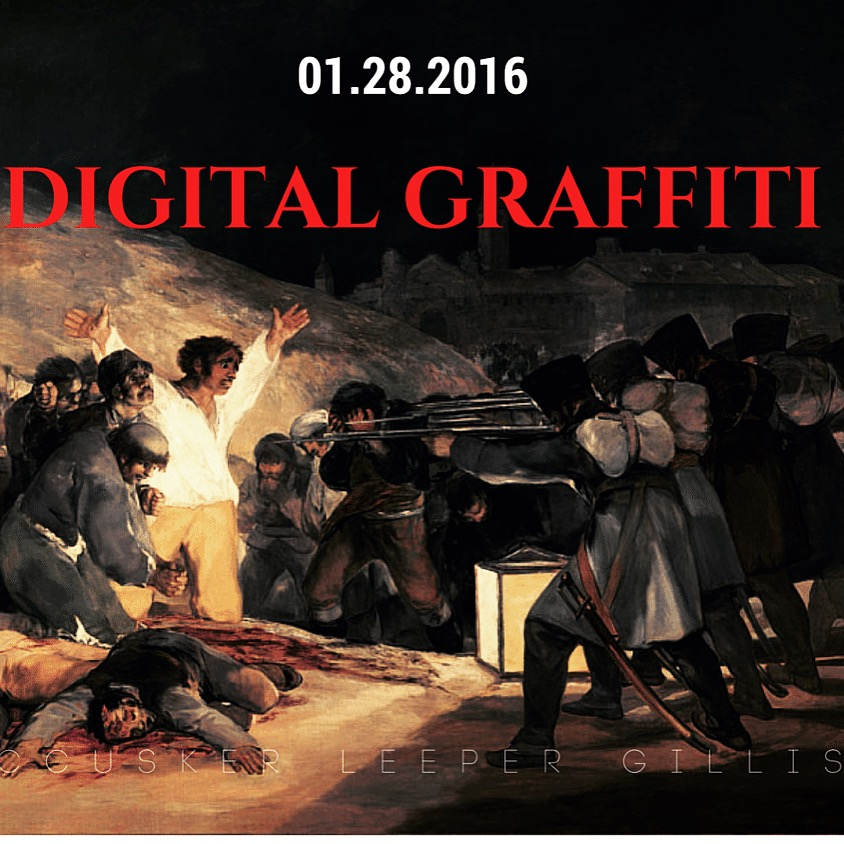 A throwback Digital Graffiti flyer. The painting featured is Goya's 'The Third of May 1808.'