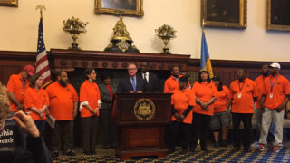 Mayor Kenney speaks about the city's new homelessness outreach program.