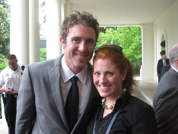 Chase Utley (left) with Karen Travers.