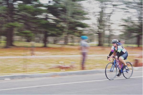 Larkin Silverman biking in the Philly Phlyer race in March.
