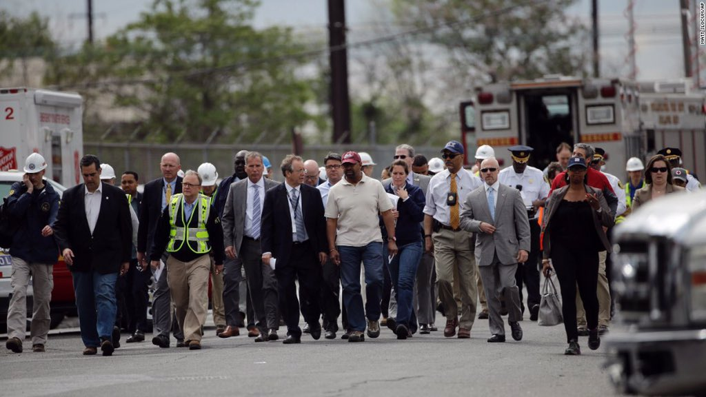 Mayor Nutter with officials investigating the crash aftermath.