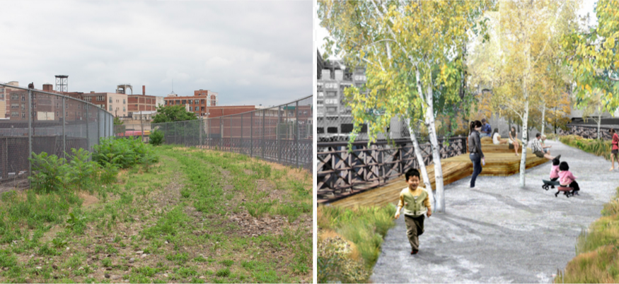 Left: Current conditions at the Reading Viaduct. Right: A rendering of what it will become.