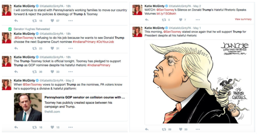 A sampling of tweets from Katie McGinty's campaign comparing Toomey to Trump.