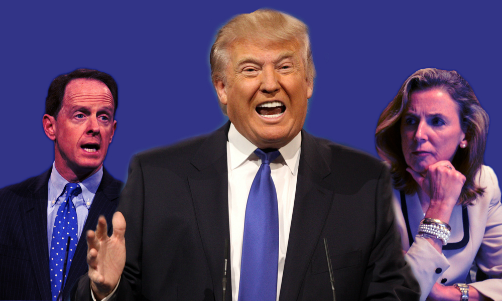 Left to right: Senator Pat Toomey, presidential candidate Donald Trump, candidate for Senate Katie McGinty