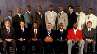 The 1996 NBA Draft class featuring Allen Iverson (top, second from left), Kerry Kittles (top, third from left) and Kobe Bryant (lower, middle) with then commissioner David Stern