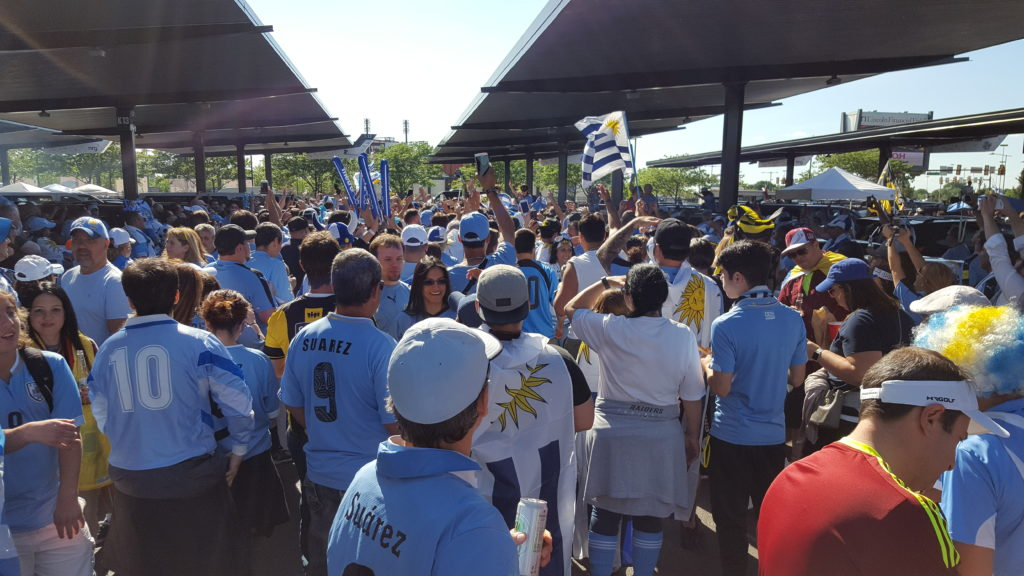 Uruguayan fans in the Linc parking lot for Copa America