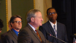 Mayor Jim Kenney with Councilman Bobby Henon, left, and Council President Darrell Clarke.