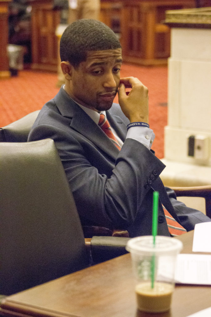 Matt Stitt, City Council CFO, sits in Council chambers before a vote is taken on implementing a soda tax.