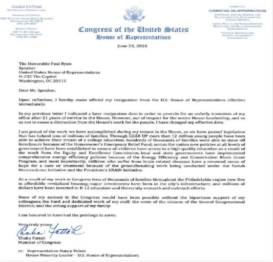Fattah Resignation letter
