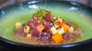 Nikkei at Aqimero, with tuna, avocado and sweet potato in white soy ponzu