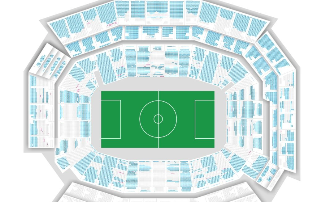 The seating availability on Wednesday for the Chile vs. Panama match on June 14. The blue seats are available.