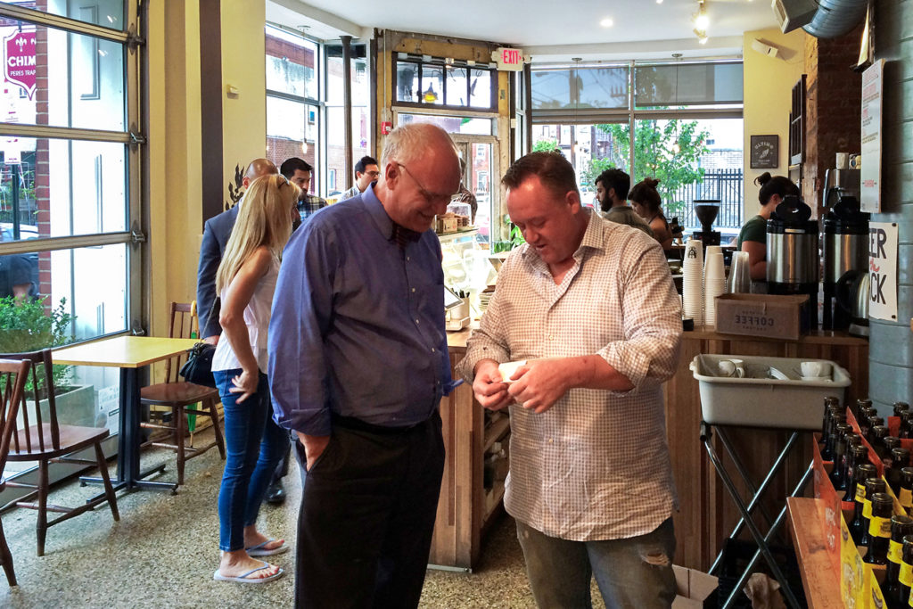 Developer John Longacre introduces Guardian to Ultimo's house-roasted coffee