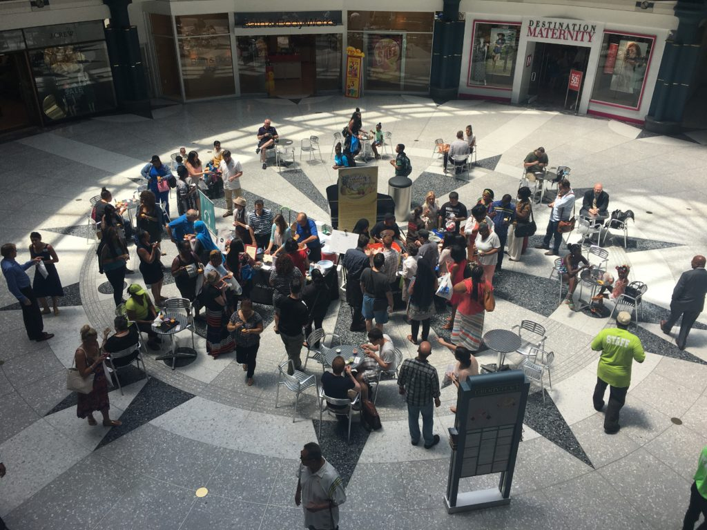 Hundreds stopped by to taste frozen treats in the sunny Rotunda at the Shops at Liberty Place